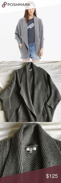 """Madewell sculptor cardigan sweater """"Sculptural ribbing. Luxurious, drapey merino wool. An open, wrap-yourself-in-it shape. Yeah, you just might want to live in this one."""" Almost new condition, excellent quality and so cosy. Bought it and wore it a couple times before I realized it just doesn't jive with my style. Size XS/S Madewell Sweaters Cardigans"""