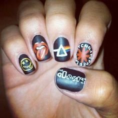 The Ultimate rock 'n roll statement nail art featuring Nirvana, the Rolling Stones, Pink Floyd, The Doors, and the Red Hot Chili Peppers! #olivenailart #oliverocknroll!