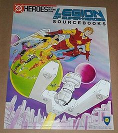 1980's Legion of Super-Heroes DC Comics Mayfair roleplaying game RPG Poster:1986