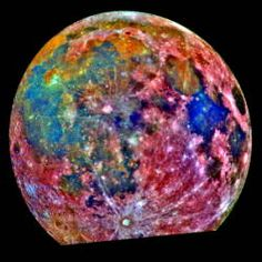 """""""Photo: There's even titanium on the Moon.This false-color photo is a composite of 15 images taken by the Galileo spacecraft. Areas colored blue are richer in titanium than those colored orange or red.The deep blue, titanium-rich patch on the right is Mare Tranquillitatis (Sea of Tranquility) where Apollo 11 landed in 1969."""""""
