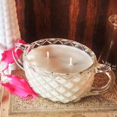 Flowerbomb- Vintage Cut Glass Sugar Bowl Soy Candle  Flowerbomb by reSOYcle, $15.00