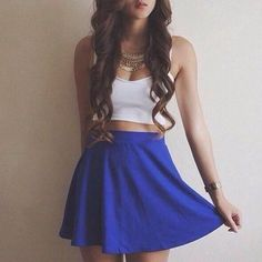 Royal blue skater skirt with white crop top Cute Fashion, Teen Fashion, Fashion Outfits, Dress Fashion, Fashion Clothes, Skirt Outfits, Dress Skirt, Waist Skirt, Pretty Outfits