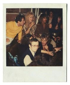 Andy Warhol polaroid of Steve Rubell, Rod and Alana Stewart, Cher, and Tina Turner at Studio 54.