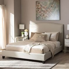 Shop for Baxton Studio Aisling Light Beige Modern Platform Bed. Get free shipping at Overstock.com - Your Online Furniture Outlet Store! Get 5% in rewards with Club O! - 16795649