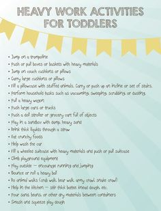 Heavy Work Activities for Toddlers for your super active kids