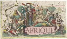 Jan Luyken | Vignet voor een kaart van Afrika met exotische dieren, Jan Luyken, Caspar Luyken, Johannes Covens en Cornelis Mortier, 1720 - 1772 | Vignet voor een kaart van Afrika, met links een riviergod waarnaast een geketende blanke. Op de steen waarop de titel staat, staan twee mannen met tulbanden. Een van deze mannen wordt uit de zon gehouden doordat er een parasol voor hem wordt opgehouden. Een man met een verentooi biedt dit tweetal een stapel met dode dieren aan, waaronder een…