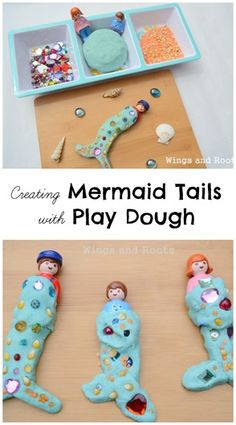 Play dough mermaid tails activity for developing creativity and fine motor skills in an under the sea theme. My daughter would adore this independent play activity. Eyfs Activities, Nursery Activities, Preschool Activities, Activities For Kids, Indoor Activities, Pirate Activities, Under The Sea Theme, Messy Play, Mermaid Tails