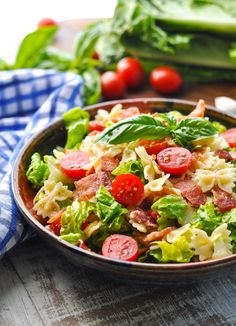 BLT Pasta Salad is an easy make ahead side dish recipe or light dinner for the warm summer months! Bacon Recipes   Salad Recipes #TheSeasonedMom #dinner #lunch #pasta #salad #bacon