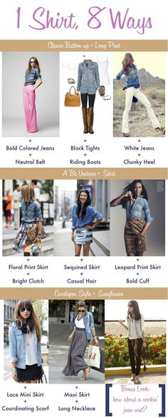 The denim shirt is so easy to throw on and can be worn with many things. Effortless chic.