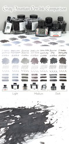 The color gray is actually quite complex. Our gray ink comparison guide lets you see all the different shades of gray! www.jetpens.com/blog/gray-fountain-pen-ink-comparison/pt/755?utm_source=pinterest&utm_medium=social&utm_campaign=guides_and_tutorials