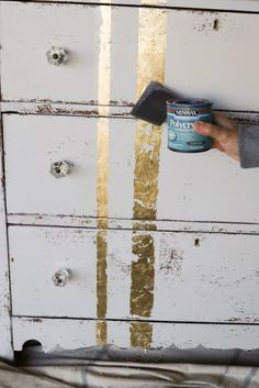 Learn how to apply gold leaf to furniture in 5 easy steps… Recycled Furniture, Refurbished Furniture, Furniture Projects, Furniture Making, Furniture Makeover, Cool Furniture, Painted Furniture, Furniture Stores, Vintage Furniture
