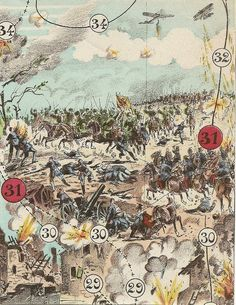 Old 1914 WWI French Game PRINT - La Guerre Moderne . Awesome 1914 - WWI Vintage French game board pr Question And Answer Games, This Or That Questions, Race Games, Shadow Theatre, Parlor Games, Strategy Games, World's Fair, Game Pieces, Wwi