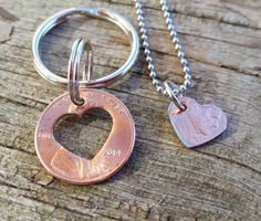 matching set anniversary penny keychain custom by TiffysLove                                                                                                                                                                                 More