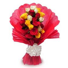 Collection of three exotic colours together to feel the breeze of love. One sided bouquet containing 9 red, 7 yellow and 6 white colour roses beautifully arranged in a combination. Wrapped in a red colour packing paper gives it a lovely background tied with a white coloured ribbon bow that gives an elegant look to this bouquet.