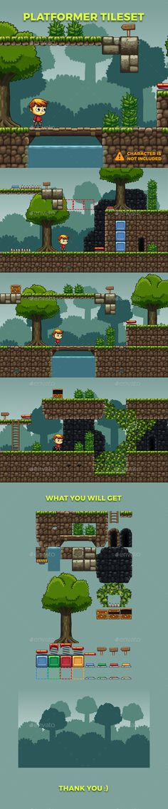 Platformer #Tileset 21 - Tilesets #Game Assets Download here: https://graphicriver.net/item/platformer-tileset-21/19614736?ref=alena994