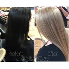 INSTAGRAM: @AlisonClay BEFORE // AFTER  color correction from black to blonde!