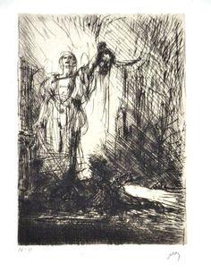 Marius Bauer: Ets, David met de kop van Goliath