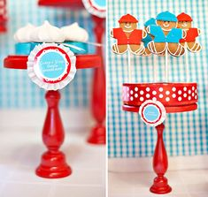 kids north pole cookie exchange party  These stands are so simple - old spray painted candlesticks attached to metal cookie tins