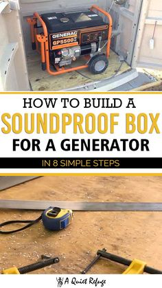 Generators are a lifesaver but sometimes they can be too noisy and disrupt the peace. Here's how to build a soundproof box for a generator for a quiet time. Generator Shed, Emergency Generator, Power Generator, Propane Generator, Emergency Power, Diy Wood Projects, Home Projects, Soundproof Box, Diy Garage