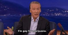 """Bill Maher, host of Real Time with Bill Maher, is on the advisory board of NORML (The National Organization for the Reform of Marijuana Laws). He regularly references his marijuana use, and he seemed amused when Zach Galifianakis sparked a spliff during his show. This picture shows him on the late night show, Conan, saying, """"I'm gay for marijuana."""" I don't know the context of the remark and kind of don't want to."""