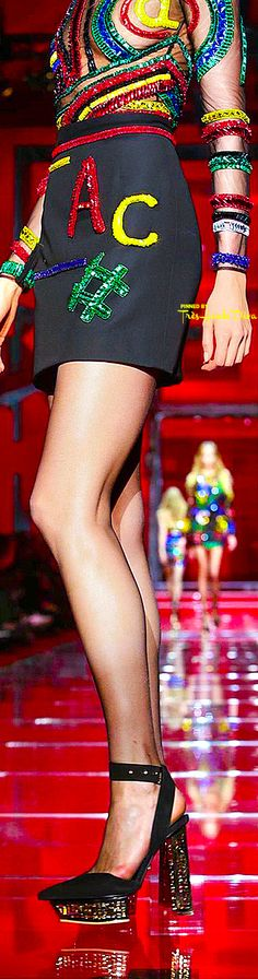 Versace Fall 2015 RTW detail ♔Très Haute Diva♔  haha no teacher will be wearing this with that sheer top...