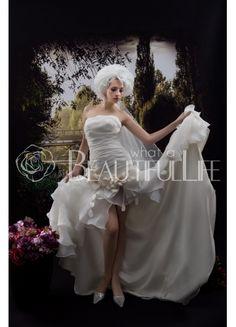 $277.49 Asymmetrical Hem Strapless Satin And Organza #Mermaid #Wedding #Dress With Flower And Pleats Mini Wedding Dresses, Wedding Gowns, Life Is Beautiful, Mermaid Wedding, Wedding Stuff, One Shoulder Wedding Dress, Cool Designs, Satin, Flowers