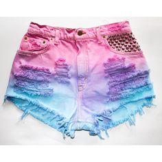 pink blue purple tie dye / Levi's vintage denim / by todyefordenim from todyefordenim on Etsy. Diy Shorts, Denim Cutoff Shorts, Tie Dye Shorts, Cute Shorts, Waisted Denim, Jean Shorts, Studded Shorts, Short Shorts, Fringe Shorts