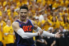 Oklahoma City Thunder guard Russell Westbrook shouts at a referee in the final minutes of Game 6 against the Utah Jazz in an NBA basketball first-round playoff series Friday, April in Salt Lake City. The Jazz won (AP Photo/Rick Bowmer) Baseball Playoffs, Nba Playoffs, Nba Basketball, Westbrook Okc, Russell Westbrook, Thunder Game, Nba News, Utah Jazz