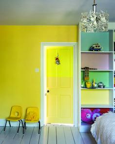 Bright and colourful children's bedroom in Farrow & Ball colours:  Wall: Dayroom Yellow Cupboard backs: Lulworth Blue, Cinder Rose, Breakfast Room Green & Blazer Modern Emulsion,  Door: Yellowcake & Dayroom Yellow Estate Eggshell.
