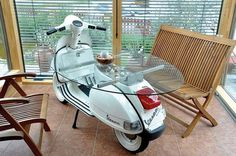 This post is dedicated to Vespisti around the world who have made the Vespa what it is today – immortal. How do you Vespa? Garage Furniture, Car Part Furniture, Automotive Furniture, Automotive Decor, Lounge Furniture, Design Furniture, Furniture Decor, Recycled Furniture, Handmade Furniture