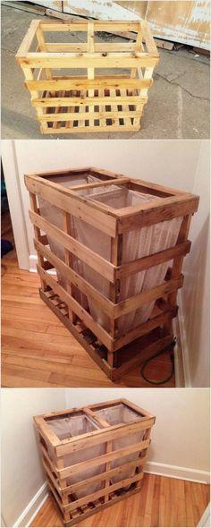 Wood Pallet Waste Bin
