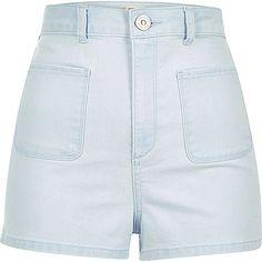 Light wash patch pocket denim shorts - shorts - sale - women