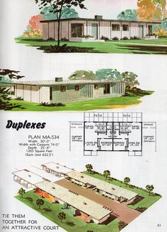 Vintage House Plans, Modern House Plans, Vintage Houses, House Plans With Pictures, Duplex Plans, Mid Century Exterior, Vintage Architecture, Small Tiny House, Googie