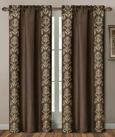 Take a look at this Chocolate Garwood Curtain Panel by Victoria Classics on today! Living Room Decor Curtains, Home Curtains, Curtains For Sale, Bedroom Bed Design, Bedroom Furniture Design, Curtain Styles, Curtain Designs, Rideaux Design, Black And White Living Room