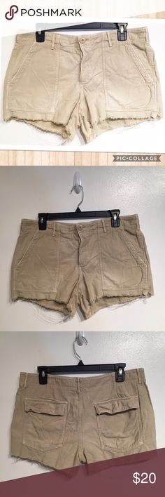 "American Eagle Outfitters Distressed Khaki Shorts American Eagle Outfitters Distressed Hem Khaki Shorts. Size 10. Measures 18"" flat at waist and 3"" inseam. No modeling. Smoke free home. I do discount bundles. American Eagle Outfitters Shorts"
