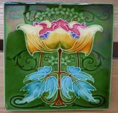 Art Nouveau design c1908 from Rhodes Tile Co tile ref 643 Volume 2 in Antiques, Architectural Antiques, Tiles | eBay