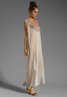MARA HOFFMAN Beaded Chiffon Dashiki Maxi Dress