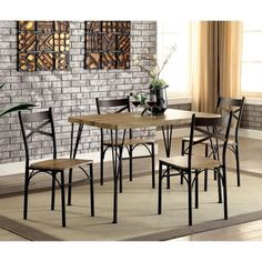 Simple Living Stratton 5 Piece Dining Set, Brown, Size 5 Piece Sets |  Simple, Simple Living And Products
