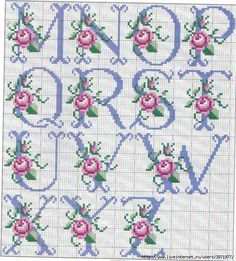 So pretty ~ cross stitch monograma alphabet with roses. Cross Stitch Alphabet Patterns, Cross Stitch Letters, Cross Stitch Baby, Cross Stitch Flowers, Cross Stitch Charts, Cross Stitch Designs, Stitch Patterns, Ribbon Embroidery, Cross Stitch Embroidery