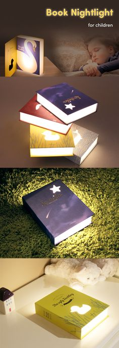 The cutest nightlight for kids! The Book Lamp features simple designs that resemble classic literature. A translucent block inside emits a soft light through the sides and front. Adjust the amount of light by leaving the book closed or open and let it shine as brightly or as dimly as you want! A micro USB port lets you use the lamp both indoors and outdoors. The flexible lighting options and ease of use make this perfect for kids and will help them fall asleep at night in the dark! Check it…