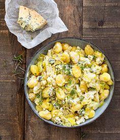 Gnocchi met prei en blauwe kaas
