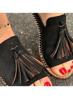 Fashion Sweet Femmes Tassel brides à boucle et talon bottier gamine Sur Chaussure Printemps Nouveau Pompes