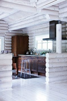 White washed log walls, maybe keep in mind if town makes us keep the log walls...