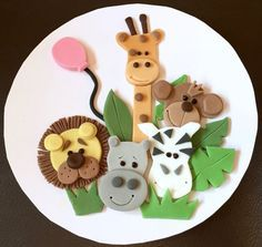 "1 x edible icing Jungle Animal zoo themed round 7"" cake topper decoration by ACupfulofCake on Etsy £17.50"