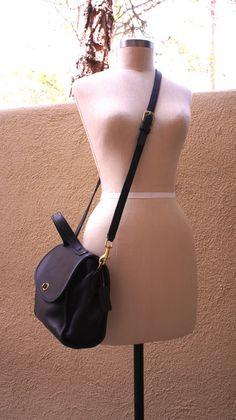 Vintage Black Leather Coach Satchel Bag