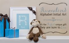 """Choose a colour, personalize it, and make it your own! """"Alphabet Initial Prints"""" by Simple Sugar Design . Makes the perfect unique gift! Upper And Lowercase Letters, Lowercase A, Initial Art, Simple Sugar, Shape Of You, Your Child, Alphabet, Initials, Unique Gifts"""