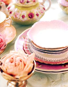 girly china is one of my most favorite things. I'll use any excuse to use my mom's gorgeous floral china