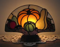 Harvest Fan Lamp by Lisa Bodnar on Etsy stained glass