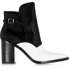 Alexander Wang Clarice calf hair and leather ankle boots ($358) ❤ liked on Polyvore featuring shoes, boots, ankle booties, ankle boots, black, botas, black boots, black buckle booties, short black boots and black high heel booties