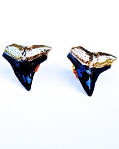 blue shark teeth earrings